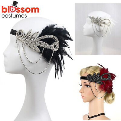 K489 1920s Headband Vintage Bridal Gatsby 20s Chicago Flapper Feather Headpiece