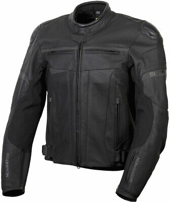 Scorpion Men's RAVIN Leather Motorcycle Sport Riding Jacket (Black) L (Large)
