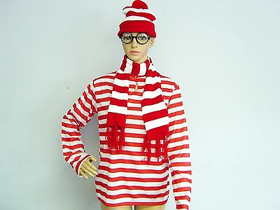 Red/White Stripe Wheres Wendy Waldo Wally Beanie & Glasses & T-shirt Book Week