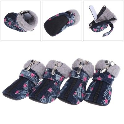 Pet Shoes Dogs Puppy Boots Denim Warm Snow Winter Lovely Anti Slip Zipper Casual