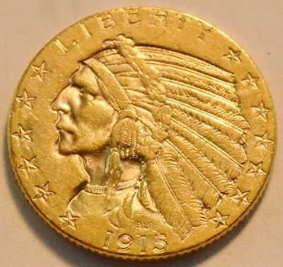 1915 S $5 Gold Indian Half Eagle, Scarce Higher Grade Five Dollar Coin Nice Look