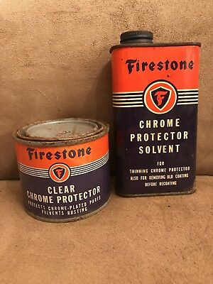 1940s OLD ORIGINAL FIRESTONE CHROME PROTECTOR CANS OIL GAS SIGN