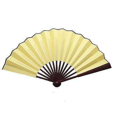 Chinese Nylon-Cloth Handheld Folding Hand Fan Drawing Dancing Performance Yellow