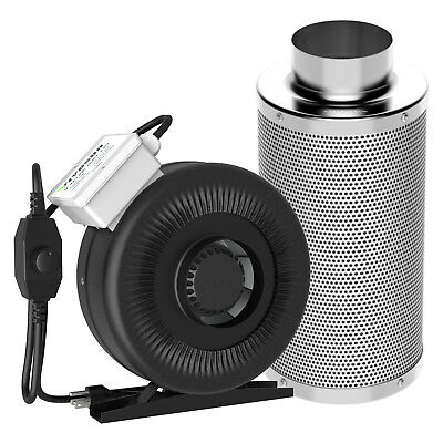 "VIVOSUN 4"" inch Inline Duct Fan w/ Controller & Air Carbon Filter Scrubber Combo"