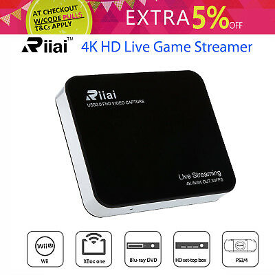 Riiai 4K HD Video Capture Live Game Streaming Box Wifi USB 3.0 For OBS PS3/4