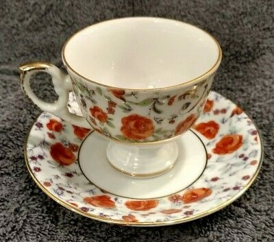 Mint Rare Orange Roses Napcoware Demitasse Tea Cup & Saucer C 8814 Gold Trimmed