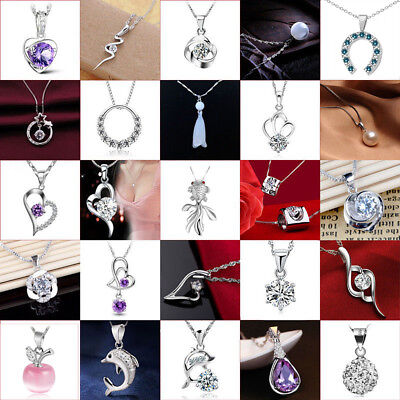 Women 925 Silver Sapphire Bridal Charms Pendant For Necklace Wedding