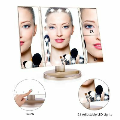 3x 2x Tri-Fold 21 LED Lighted Touch Screen Stand Vanity Dressing Makeup Mirror
