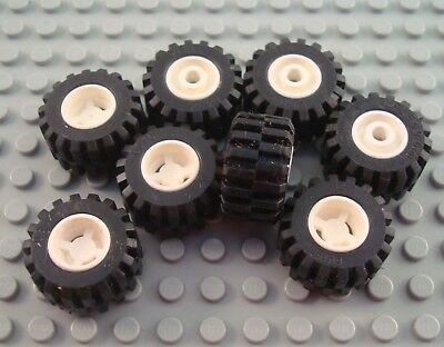 LEGO Lot of 8 Medium Car Tires with White Hubs