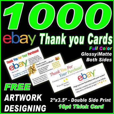 1000 Thank you cards-Full Color 2 side printing-UV/Matte-Free design & Shipping