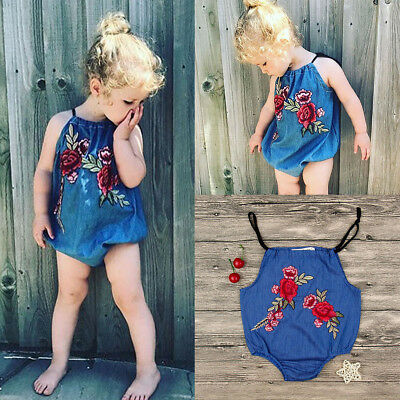 Newborn Infant Baby Girl Denim Romper Jumpsuit Bodysuit Clothes Outfits Sunsuit