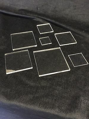 CLEAR PERSPEX ACRYLIC SQUARES 2mm 3mm 4mm 5mm 6mm 8mm 10mm