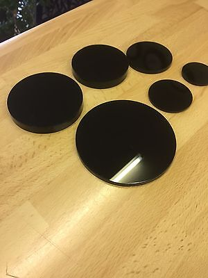 BLACK PERSPEX ACRYLIC CIRCLE ROUND DISC  3mm  5mm  10mm