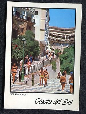 Posted 1990 from Gibraltar: People, Beach Road, Torremolinos