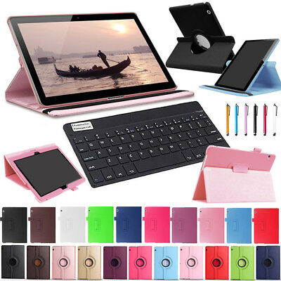 """For Huawei Mediapad T3 7"""" 8"""" 10"""" Tablet PC Bluetooth Keyboard Leather Case Cover"""