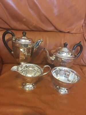 Silver Plated Tea Set Viners Sheffield 4 piece Stunning Art Deco Gleaming Large