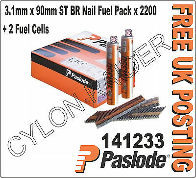 Paslode 141233 3.1mm x 90mm Smooth BR Nail Fuel Pack x 2200 + 2 Fuel Cells L@@K!