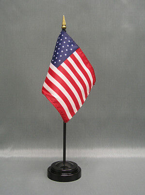 "United States of America US Mini 4""x6"" Desk Stick Flag, With Black Plastic Stand"