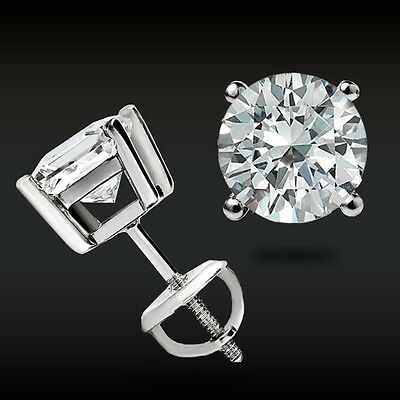 2.00 Ct Round Earrings 14K Solid White Gold Brilliant Basket Studs Screw-Back