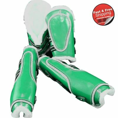 Green-Bling Faux Patent Leather Tendon/ Fetlock Boots with Fur lining-Set of Fou
