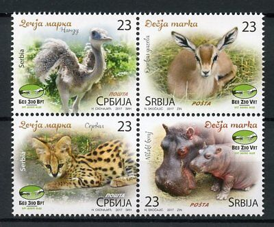 Serbia 2017 MNH Belgrade Beo Zoo Baby Animals Hippos Serval Deer 4v Block Stamps