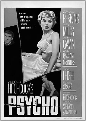 Psycho Vintage Movie Poster Art Print Black & White Card or Canvas