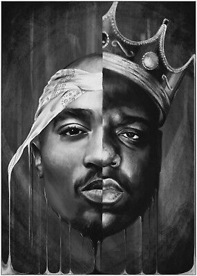 Biggie Smalls BIG and 2Pac Tupac Poster Art Print Black & White Card or Canvas