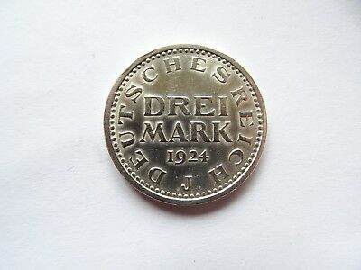3 Mark 1924 J Silber  Weimarer Republik