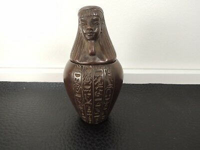 ANTIQUE Egyptian Art hieroglyphs carved Canopic Urn Jar 4""