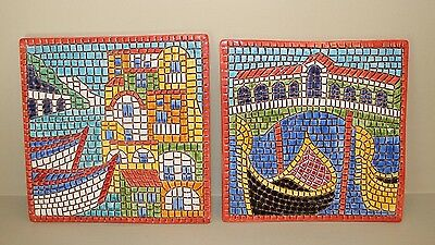 Trivets 2 Venice Themed Mosaic Colorful Hand-Painted and Made in Italy Tableware