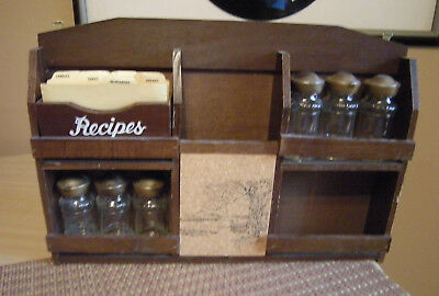Spice Rack With 6 Glass Jars Corkboard Removable Recipe Box With Tabs Vintage