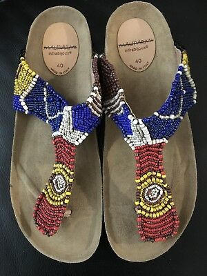 be3c55ba01a63 New Anthropologie Maliparmi Infrabiijoux Women s Beaded Sandals Us 9   10  Eur 40