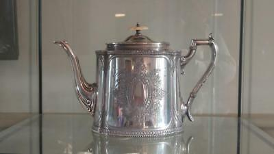 Elegant Antique Finely Embossed Silver Plated Tea Pot by James Dixon C 1879+