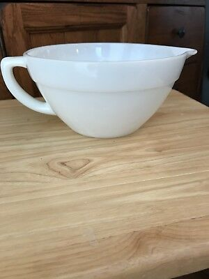 Vintage White FIRE KING Milk Glass Batter Bowl with Handle and Spout