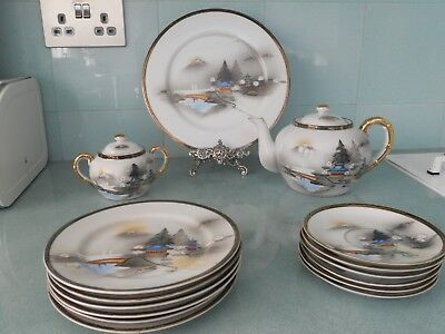 Vintage Ritz China Japanese Part Tea Set - Hand Painted - 15 Pieces Inc Teapot