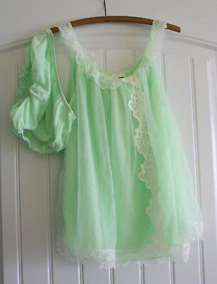 Vtg Chiffon BABYDOLL Nightgown - Montgomery Ward Mint Green Double Layer Panties