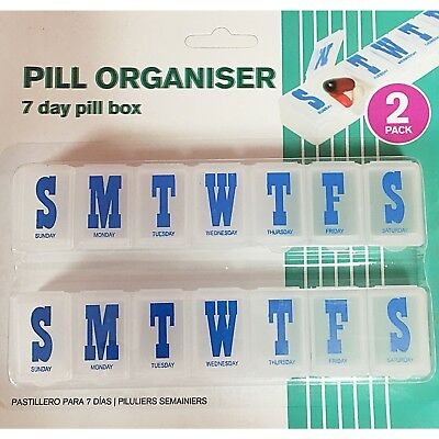 2 Pack 7 Day Pill Box Clip Lids Medicine Organiser Tablet Storage Dispenser