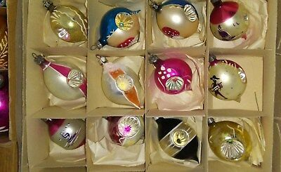 12 Vintage Old Antique Christmas Glass Ornaments Small Double Indent