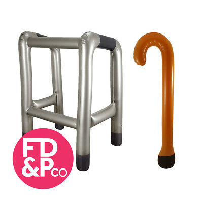 Inflatable Walking Stick & Zimmer Frame Blow Up Toy Novelty Gag Joke Dress Up