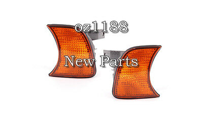 Pair Amber Corner Lights Turn Signals For BMW 5 Series E34 Sedan Wagon 89-95