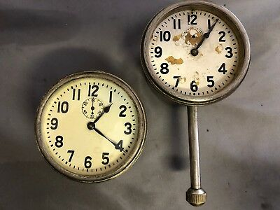 2 Rare 1920's 8 Day Dash Car Clock Long Stem ELGIN Parts repair WALTHAM VINTAGE