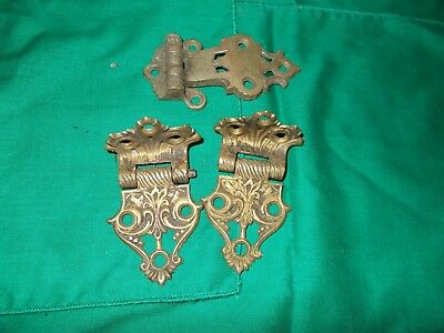 3 Vintage Ornate Brass Hinges
