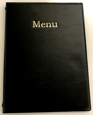 QTY 25 A4 MENU HOLDER/COVER/FOLDER IN BLACK LEATHER LOOK PVC - chord fixed
