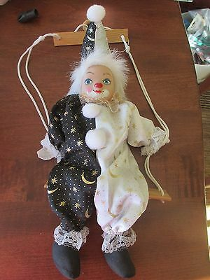 Jester Clown Marionette Shelf Sitter Doll Bisque Head Painted Celestial B&W Gold
