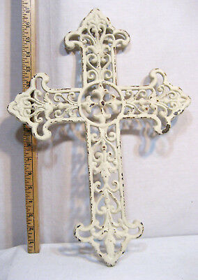 "Large Vintage White Cast Iron Cross - Size: 17 1/2"" x 12 1/2""  Weight 3 Pounds"