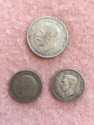 Great Britain UK silver Florin, Two Shillings 1928 and One Shilling 1928 & 1942