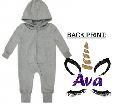 Personalised baby girls glitter unicorn any name print zip up romper suit