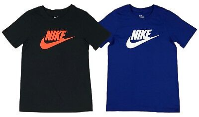 Nike Boys Classic Futura Logo Graphic Cotton Shirt Black/Blue New