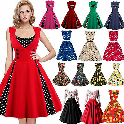 Damen Rockabilly 50er Swing Kleid Petticoat Vintage Hepburn Party Cocktailkleid