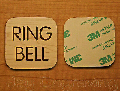 Engraved 2x2 Birch Wood-Grain RING BELL Plastic Tag Sign Plate | Doorbell Plate